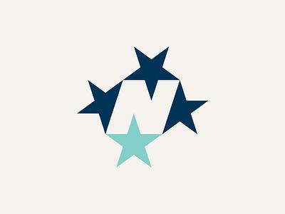 N + Star brand branding star n logo design logo