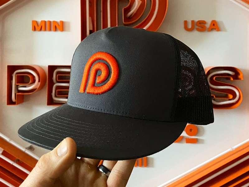 Peters Design Company Hat and Branding custom typography font pattern classic neon signage sign hat p orange logos design brand minneapolis branding american badges crest logo