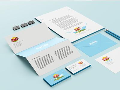 Zarnik stationery set stationery design stationery set envelope design iran print logo branding persian vector drawing footer header business card design illustration