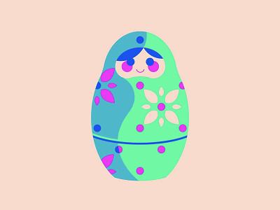 Babushka doll babushka vector illustrator geometric flat illustration design