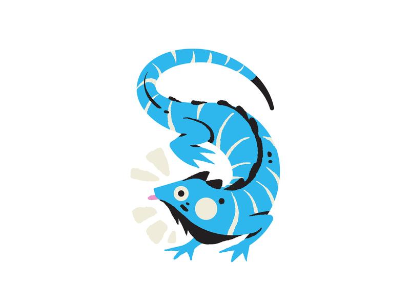 Iguana tounge silly cute lizard tropical blue iguana colourful illustrator illustration design