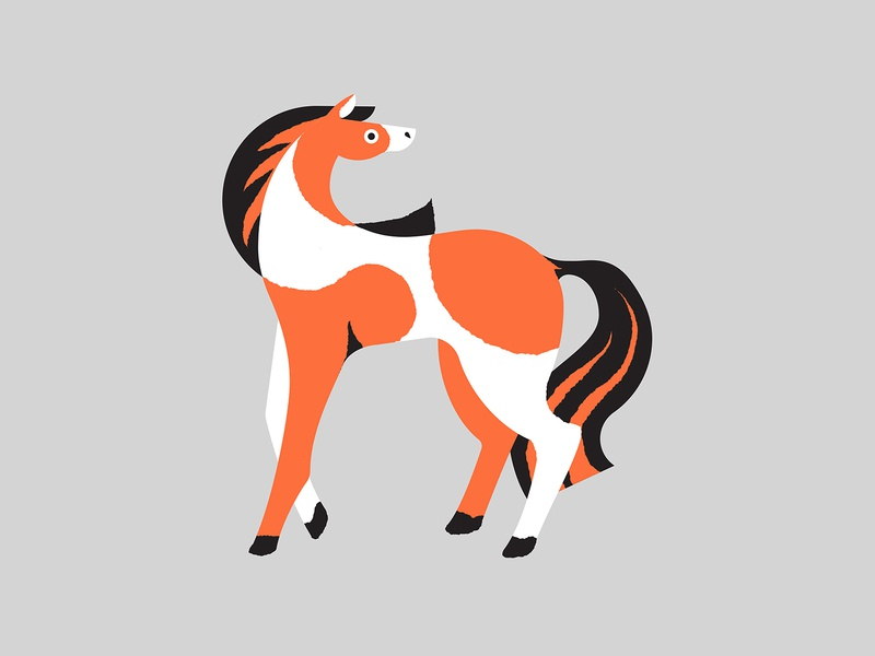 Horse minimal simple white orange pony horse cute colourful photoshop illustrator illustration
