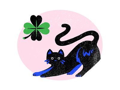 Good Bad Luck clover black cat good luck bad luck luck lucky blue cute colourful flat design illustrator illustration