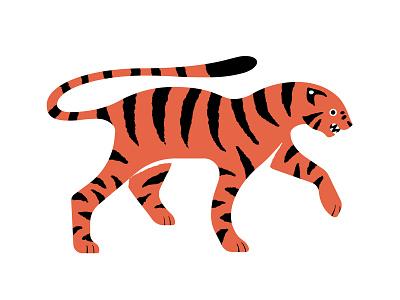 Tiger black orange snarl roar fur stripey stripe pattern bold modern playful fun tiger red cute colourful flat design illustrator illustration
