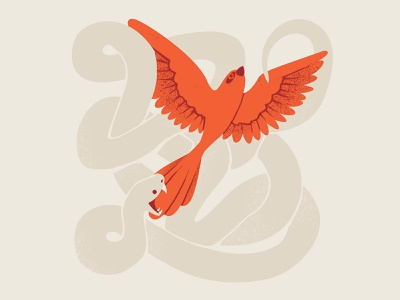 "Secret 7"" simple cream orange knot snakes hope bird flat design illustrator illustration snake"