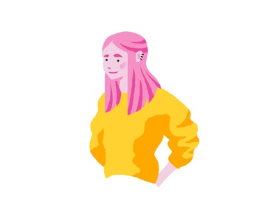 Pink Haired Girl cool hair pink sweater yellow girl cute colourful flat design illustrator illustration