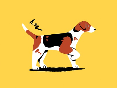 Reg beagle jack russell yellow tail wagging tail dog cute colourful flat design illustrator illustration