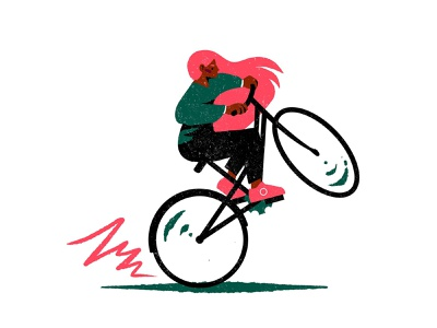 Wheelie bicycle bike green pink hair pink cool badass fierce girl cute colourful design illustrator illustration