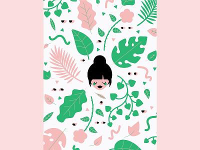 Jungle Mind eyes girl leaf leaves vector illustrator geometric flat illustration design