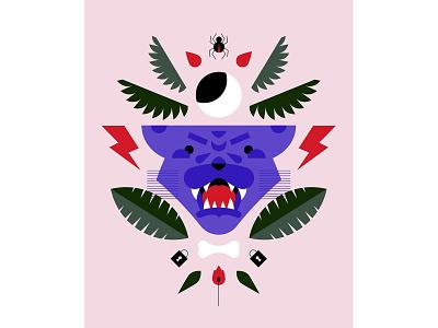 Roar lightning jungle panther vector illustrator geometric flat illustration design