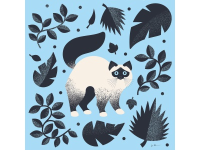 Catto cute leaves cat vector illustrator flat geometric illustration design