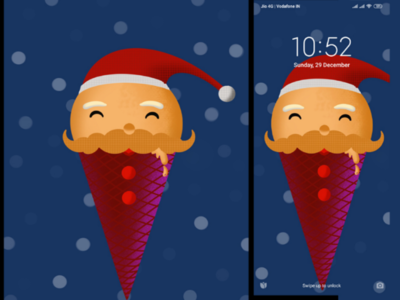 Santa Icecream Christmas special wallpaper designed in procreate