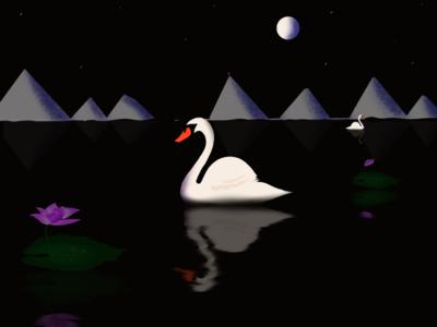 Swan and lotus lake digital art...