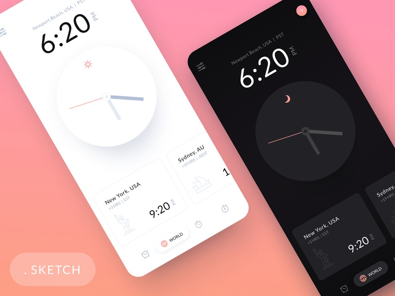 iOS Clock App - Light and Dark Theme clean sketch modern app design ios clock ios app mobile app time dark light theme dark theme light app mobile ui dribbble dark app app interface freebie-friday freebie free