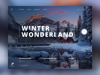 Winter Wonderland Adventure Experience Animation winter website web design video ux ui design ui snow reflection mountain animation minimal landing page interface experience dribbble concept clean ui clean adventure
