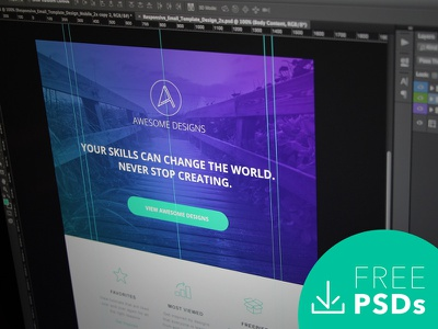 Responsive Email Template Design   Free PSD mobile design clean retina cyan white purple photoshop template email modern free