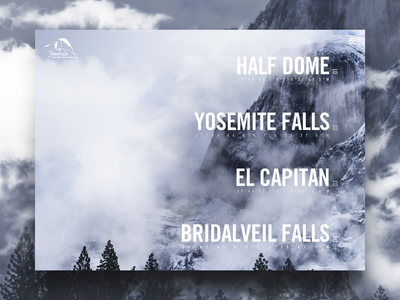 Yosemite Attractions web mountains interaction typogaphy user experience user interface forest wilderness cloudes rocks trees design homepage sketch photoshop ux modern ui website yosemite