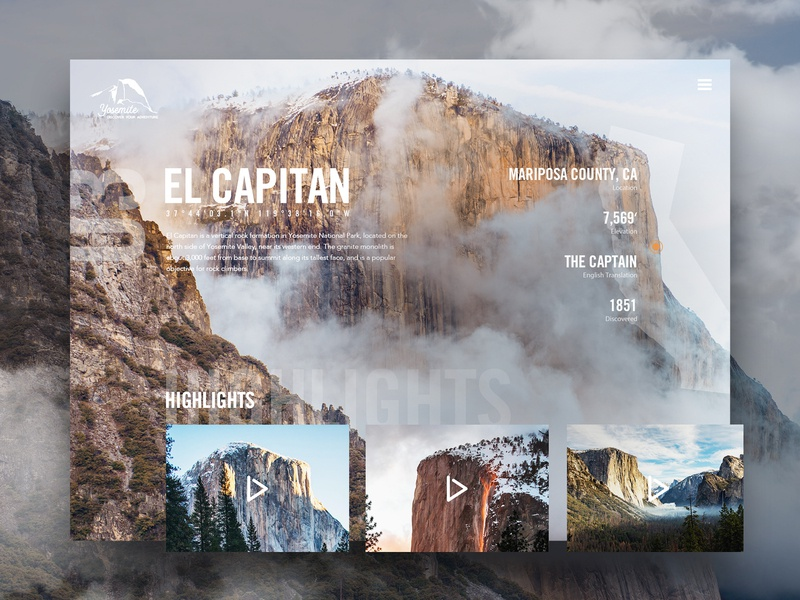 El Capitan in Yosemite National Park yosemite website ui modern ux photoshop sketch homepage design trees rocks cloudes wilderness forest user interface user experience typogaphy interaction mountains web