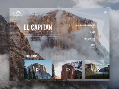 Yosemite & El Capitan | Yosemite National Park motion animation yosemite website ui modern ux photoshop sketch homepage design wilderness forest user interface user experience typogaphy interaction mountains web clouds