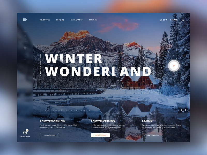 Winter Wonderland Adventure Experience website experience ux ui design ui clean ui interface web design minimal landing page dribbble concept clean video reflection water mountain snow winter adventure