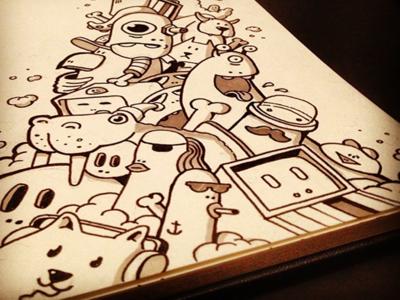 Creature pile sketch creatures moleskine doodle