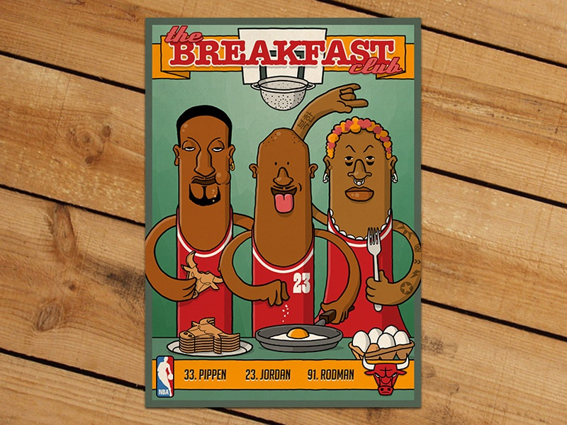 Breakfast Club Trading Card nba basketball trading card michael jordan scottie pippen dennis rodman illustration