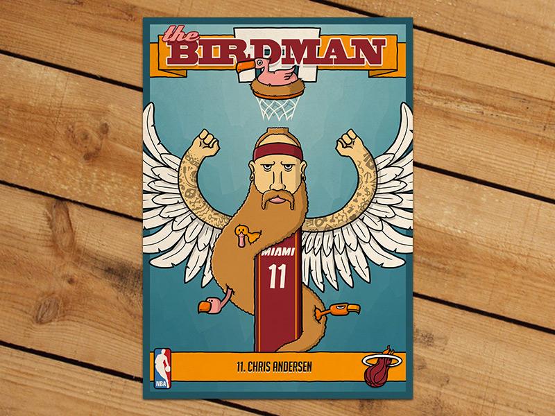 Birdman Trading Card nba basketball trading card birdman chris andersen illustration