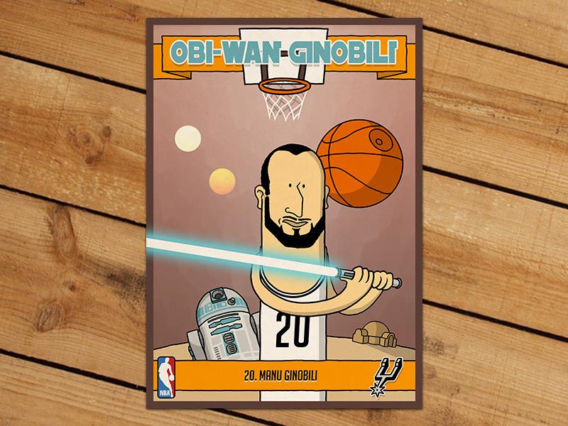Obi-Wan Ginobili Trading Card nba basketball trading card manu ginobili obi-wan jedi illustration