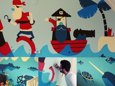 Pirate Mural crocodile octopus pirate painting mural