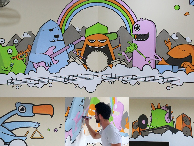 Music Room Mural rainbow band monsters painting music mural