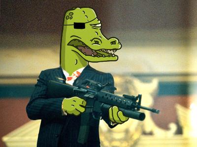 """Say hello to my little friend!"" illustration crocodile scarface"