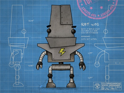 RBT v.01 illustration robot blueprint