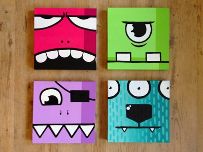 Monsters⁴ painting canvas square monsters