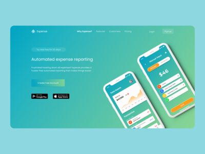 Expense app web landing page