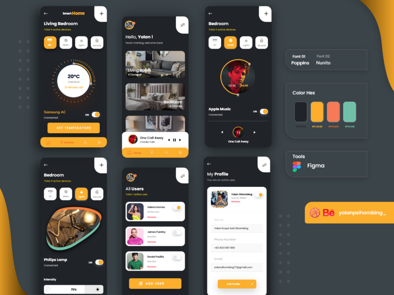 Smart Home - Simplyfy Daily UI Kit userexperiencedesign smarthome smarthomedesaign figmadesign uiinspiration uidesign uiux uxdesign figma typography icon design app ui mobile simplify