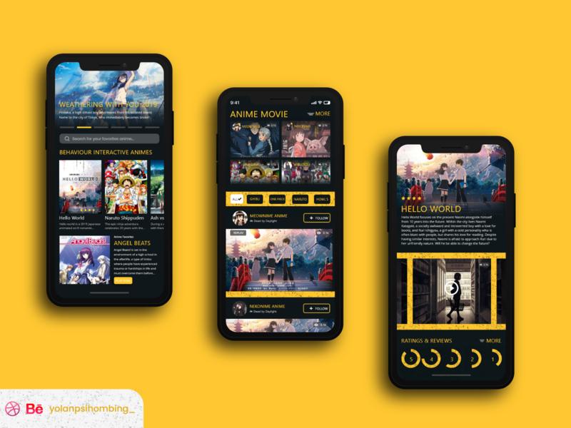 Nownime Apps movieapps otakkulovers wibulovers uiuxdesign anime figma app simplify mobile ui