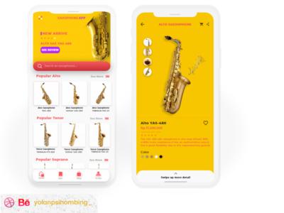 Daily UI Design Saxophone Online Shop uiuxdesign music app mobile app ui simplify