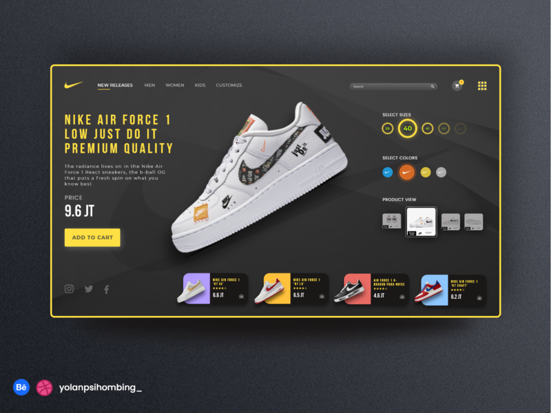 NIKE Air Force Shop webdesig sneakers casual shopping branding design nike air figma photoshop uiuxdesign uiux shoes ui simplify