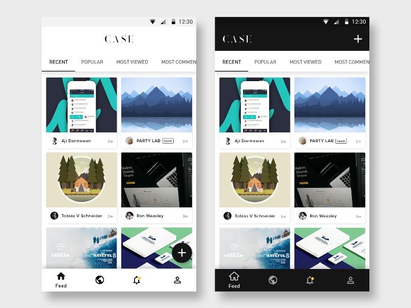 Case Mobile Concept material apps material design white black minimalist showcase concept mobile app ux ui