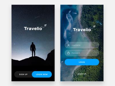 Exploration - Travelio Login Screen mobile apps apps mobile ui app