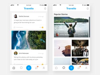 Exploration - Travelio Home & Explore minimal clean mobile apps apps mobile ui app