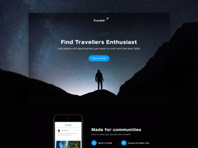 Exploration - Travelio Landing Page ux dark minimal clean ui travel landing page