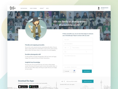 SweetEscape - Join as photographer travel photographer web landing page ux ui