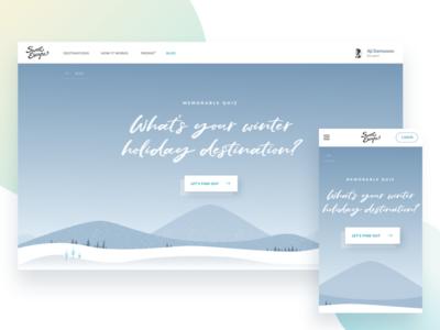 Winter Holiday Quiz web illustrations landing page ux ui quiz
