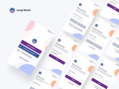 Langit Musik - Sign up & Log in music app design mobile apps app ux ui