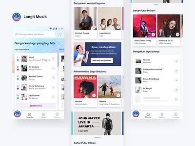 Langit Musik - Homescreen homepage musicapp apps mobile app ux ui