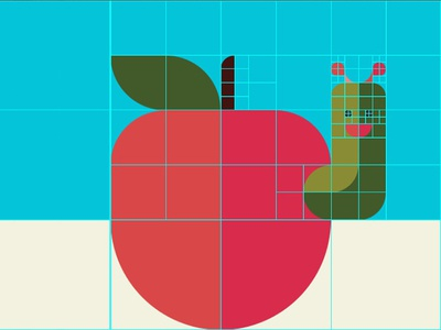 An Apple with A Caterpillar (grid system)
