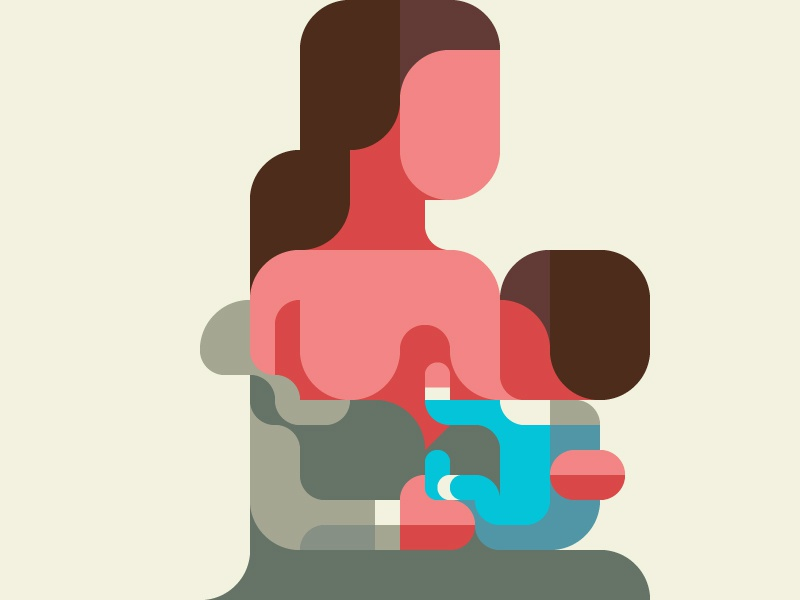 Breast-Feeding 授乳 nursing lactation breastfeeding flatdesign iconic geometry minimal grid patchworkapp