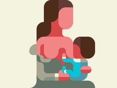 Breast-Feeding 授乳 nursing lactation breastfeeding flatdesign iconic geometry minimal grid patchworkapp