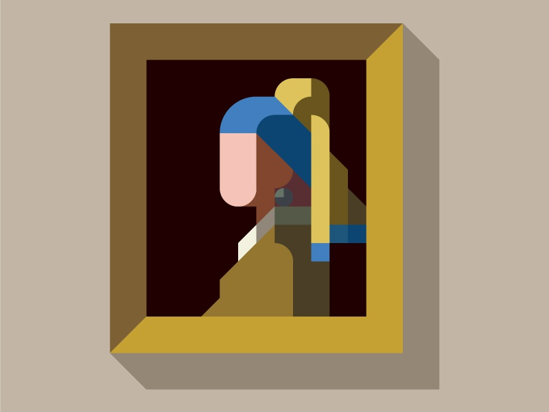 "MASTERPIECE ""Girl with a Pearl Earring"" flat iconic nemury simple minimal illustration patchworkapp geometry masterpiece vermeer"